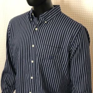 Chaps Striped Long Sleeve Button Down w/ Logo